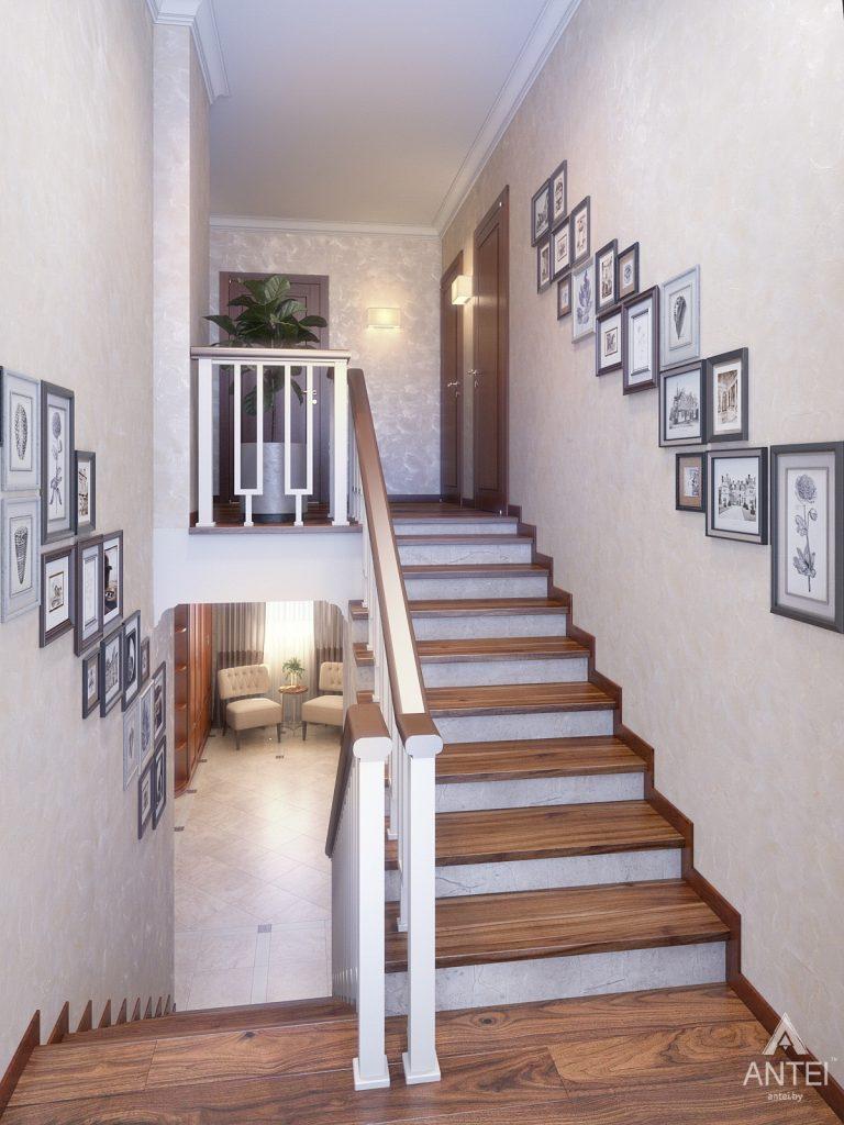 Дизайн интерьера коттеджа в Гродно - лестница фото №1