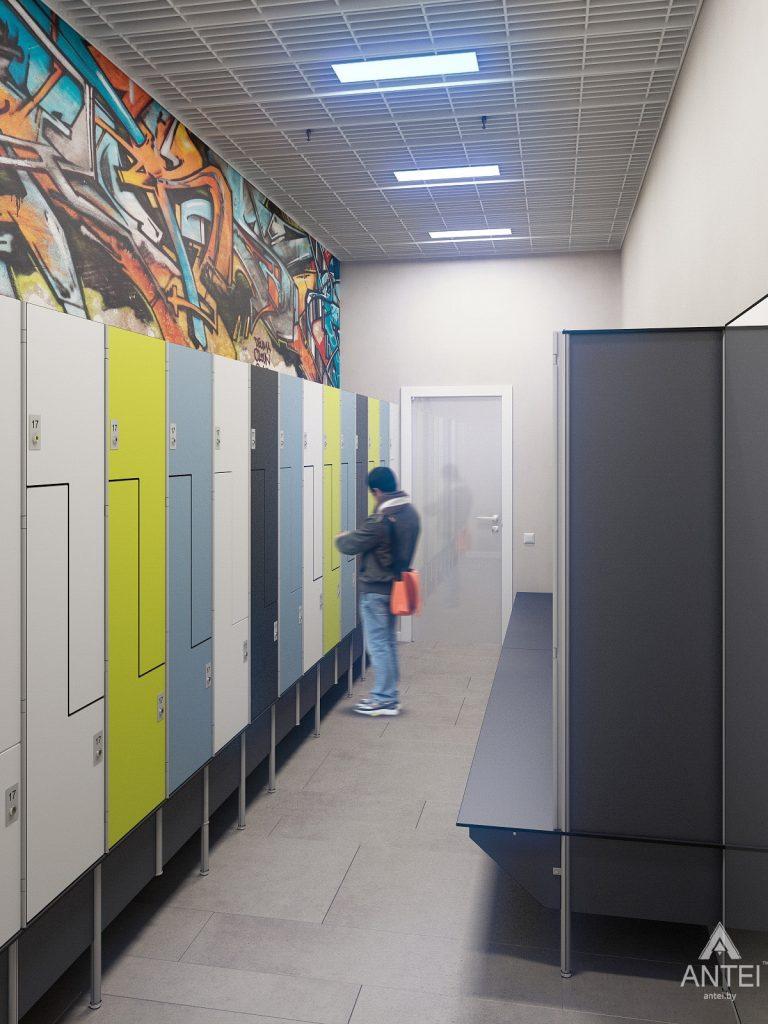 Дизайн интерьера тренажерного зала в Гомеле - мужская раздевалка фото №1