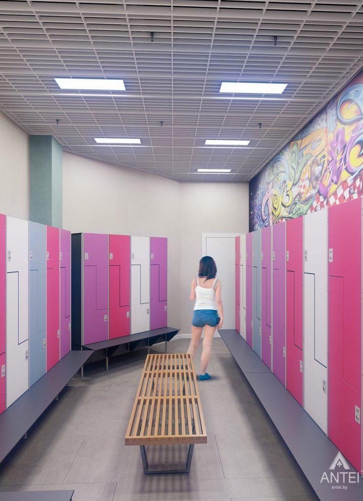 Дизайн интерьера тренажерного зала в Гомеле - женская раздевалка фото №1