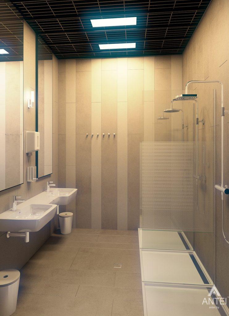 Дизайн интерьера тренажерного зала в Гомеле - мужской санузел фото №1