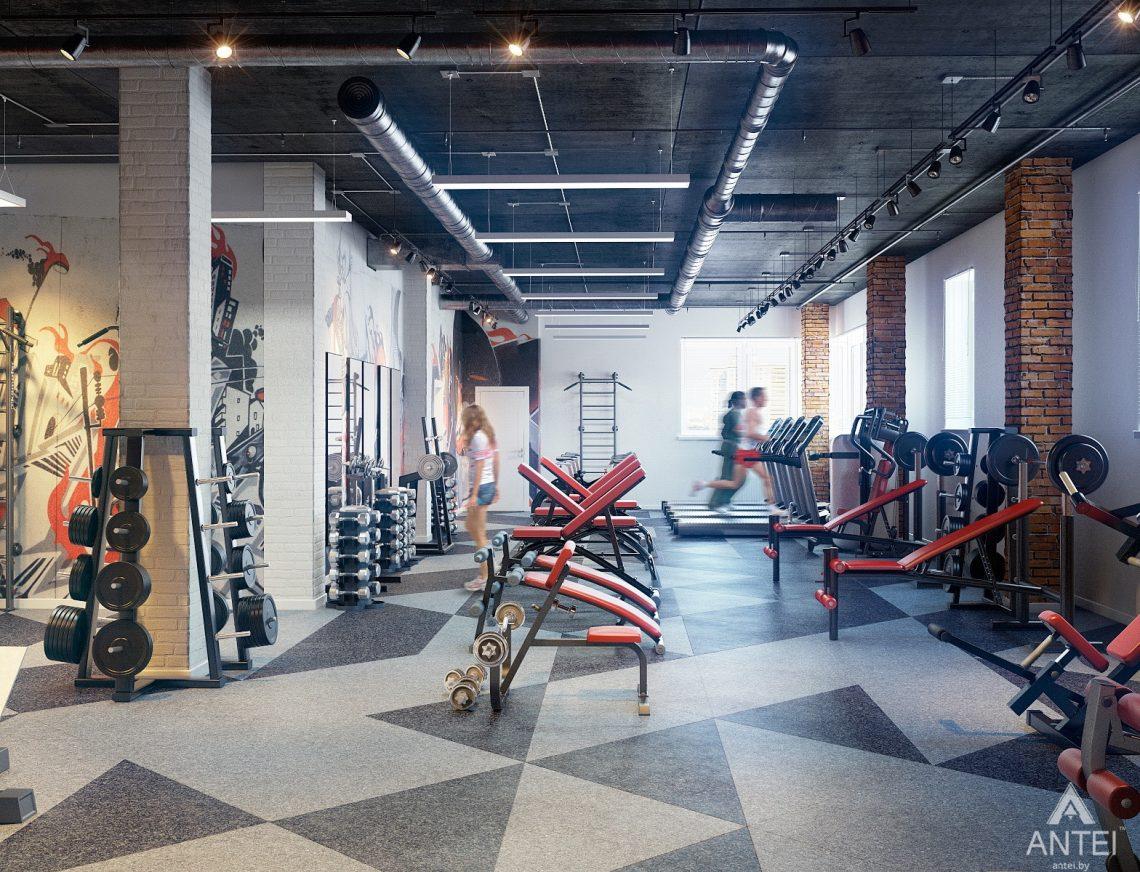 Дизайн интерьера тренажерного зала в Гомеле - тренировочный зал фото №2