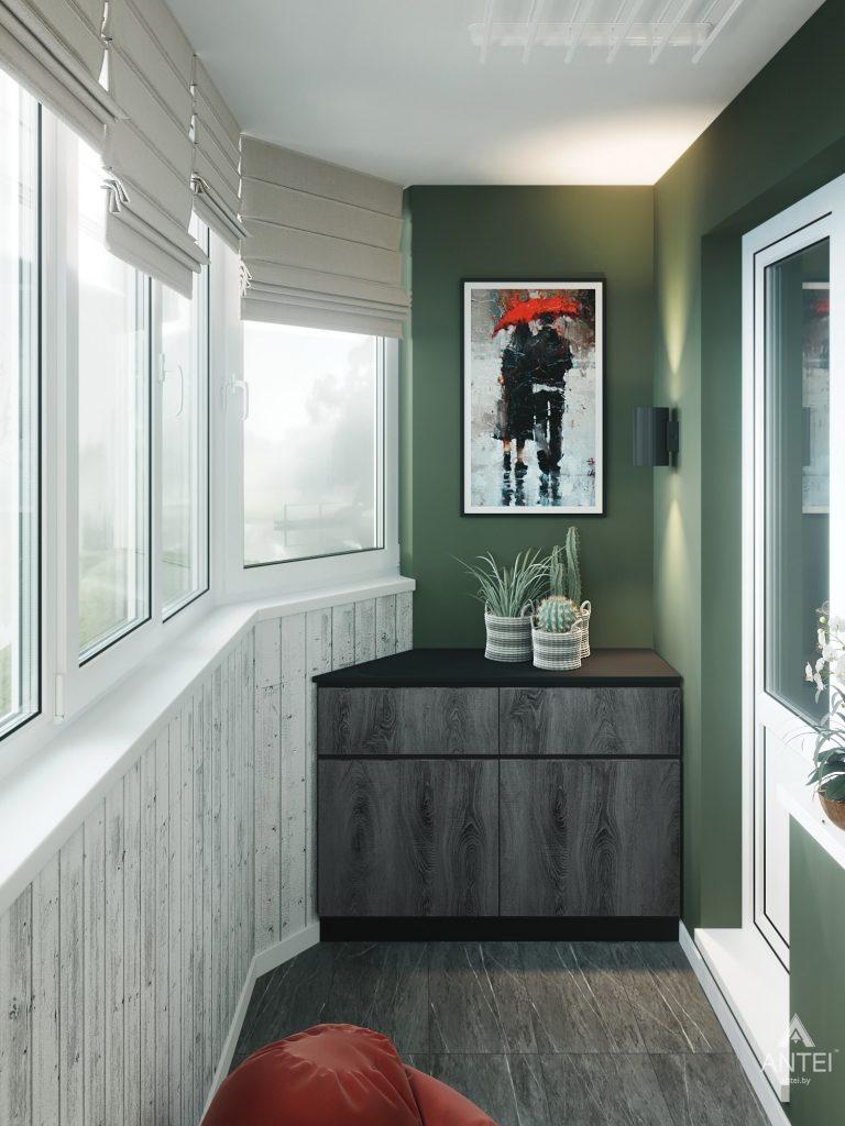 Дизайн интерьера трехкомнатная квартира в Гомеле, ул. Денисенко - лоджия фото №1