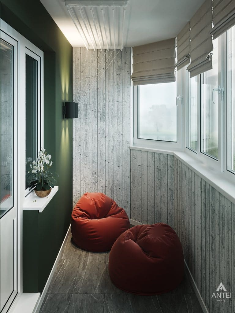 Дизайн интерьера трехкомнатная квартира в Гомеле, ул. Денисенко - лоджия фото №2