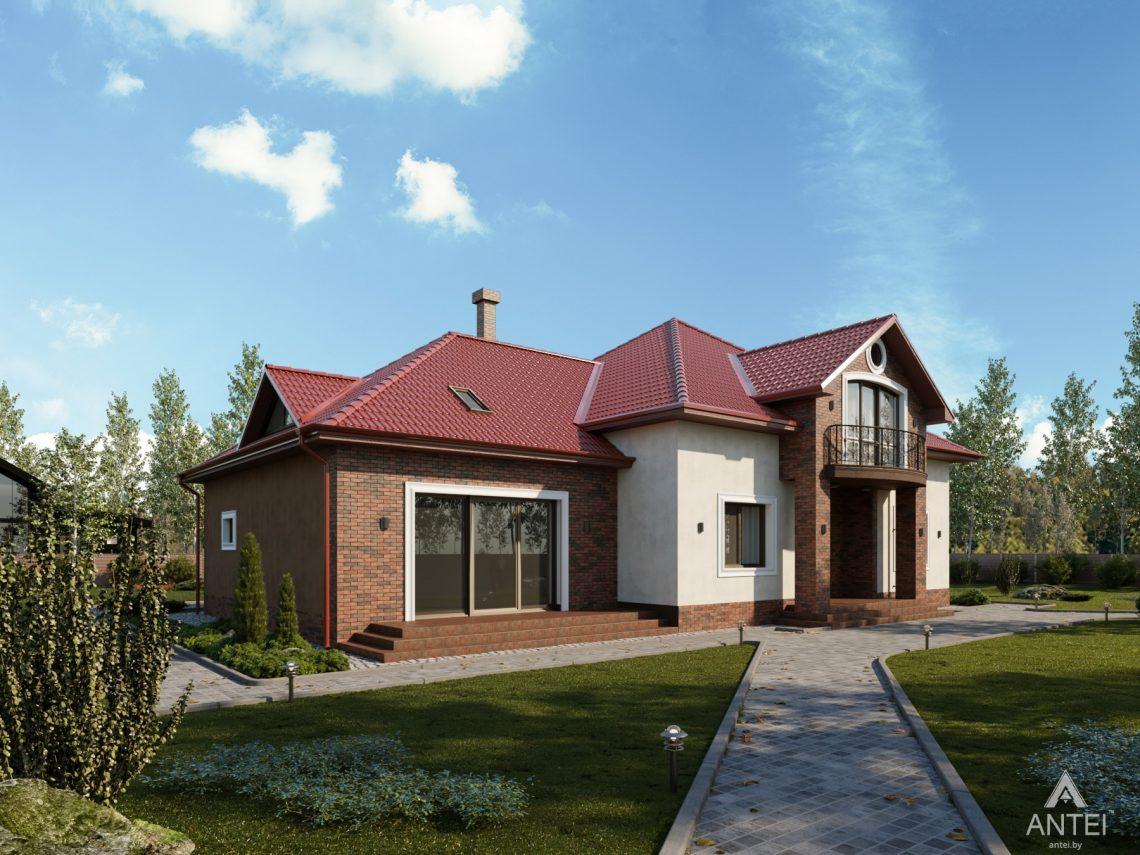 Дизайн фасадов дома с мансардой в Гомеле - вид слева