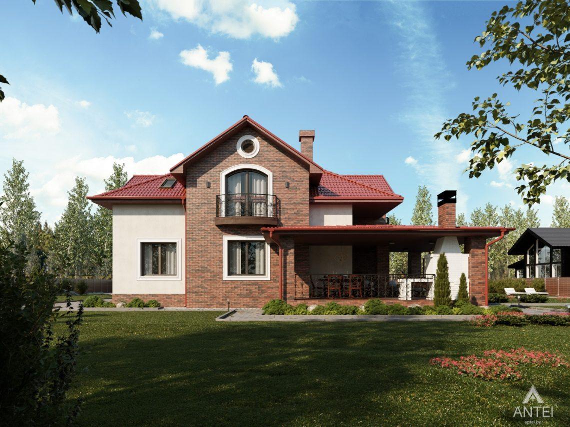 Дизайн фасадов дома с мансардой в Гомеле - вид сзади фото №2