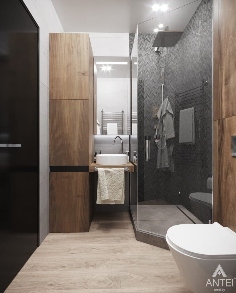 Дизайн интерьера квартиры студии в Москве - фото №2Дизайн интерьера квартиры студии в Москве - санузел фото №1
