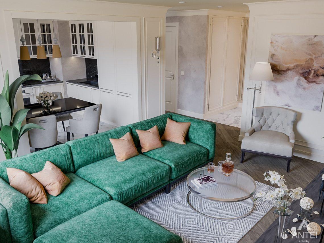 Дизайн интерьера трехкомнатная квартира в Светлогорске - кухня-гостиная фото №2