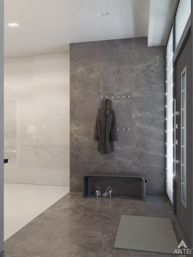 Дизайн интерьера двухэтажного дома в Гомеле - прихожая фото №2