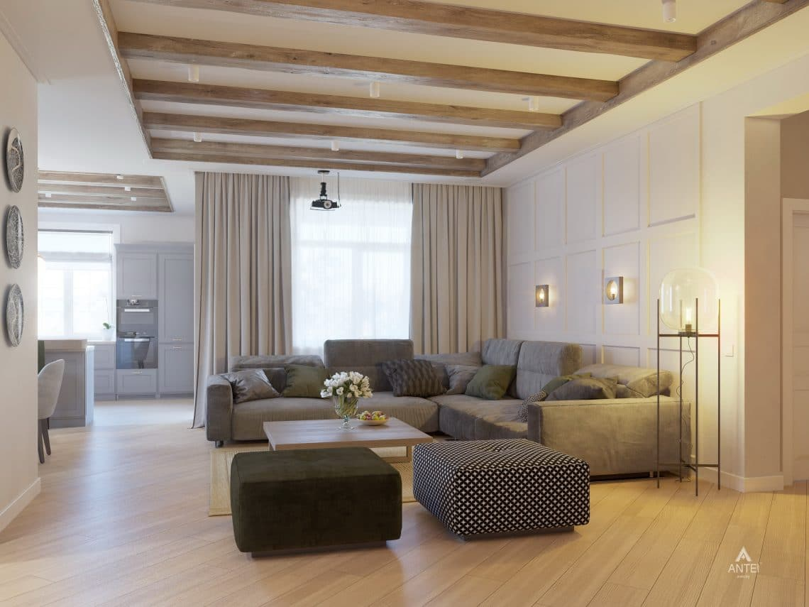 Дизайн интерьера одноэтажного дома в Гомеле - гостиная фото №1