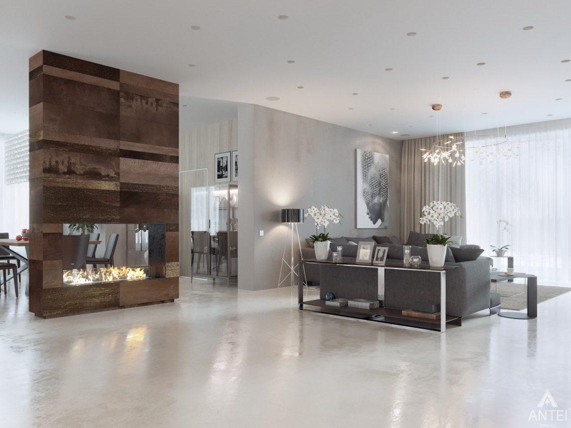 Дизайн интерьера двухэтажного дома в Гомеле - гостиная фото №1