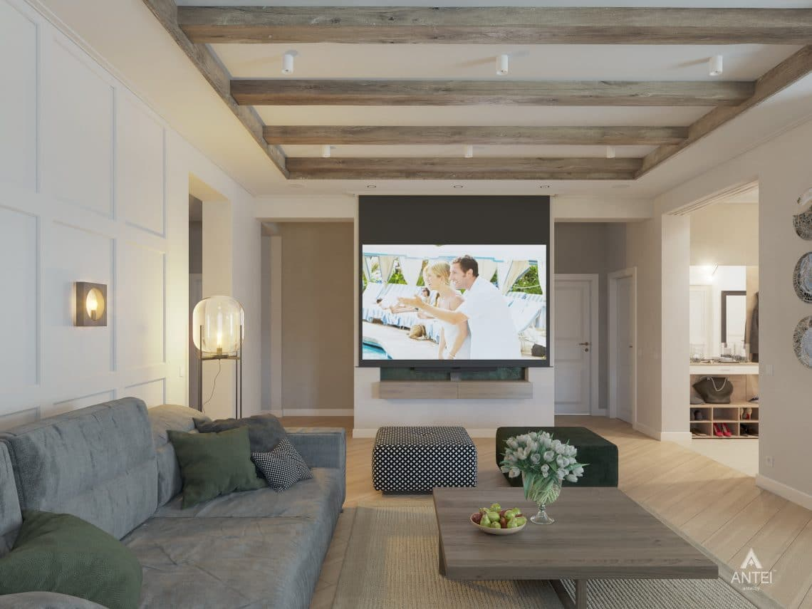 Дизайн интерьера одноэтажного дома в Гомеле - гостиная фото №2