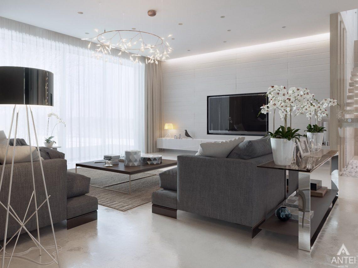 Дизайн интерьера двухэтажного дома в Гомеле - гостиная фото №3