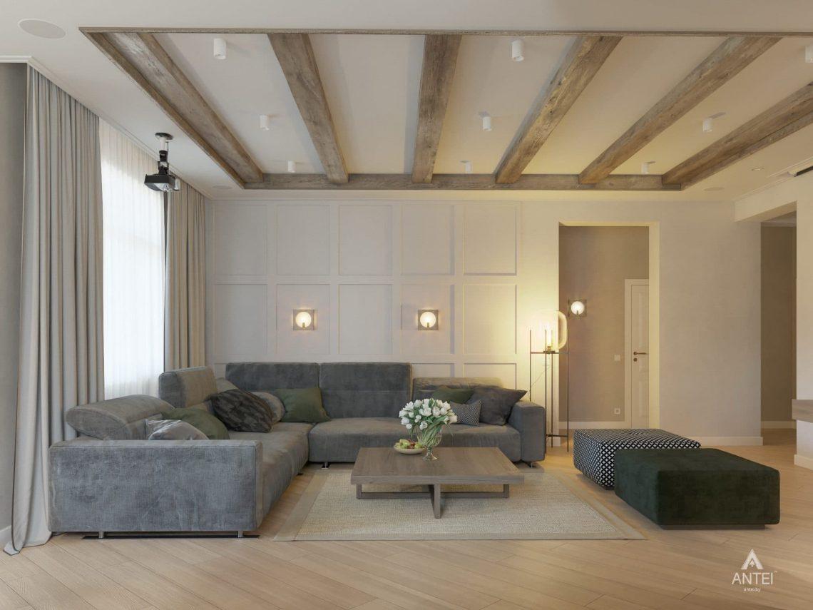 Дизайн интерьера одноэтажного дома в Гомеле - гостиная фото №3