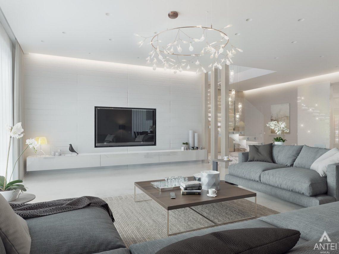 Дизайн интерьера двухэтажного дома в Гомеле - гостиная фото №4