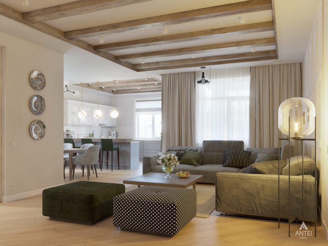 Дизайн интерьера одноэтажного дома в Гомеле - гостиная фото №4