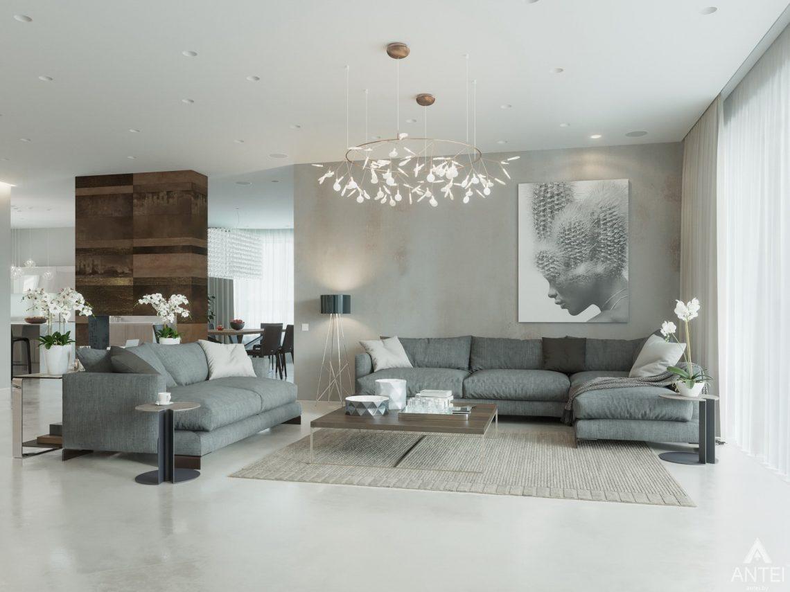 Дизайн интерьера двухэтажного дома в Гомеле - гостиная фото №2