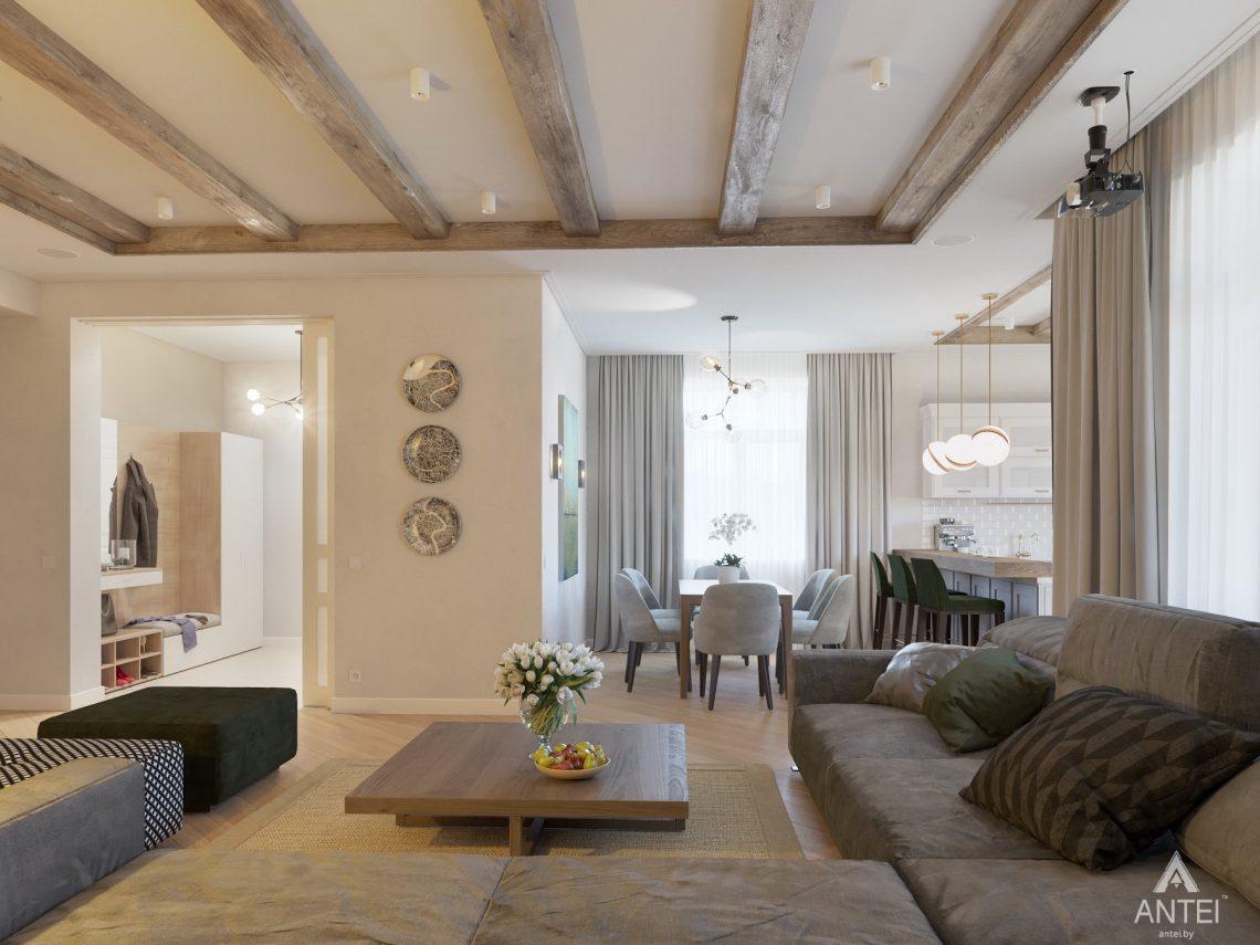 Дизайн интерьера одноэтажного дома в Гомеле - гостиная фото №5
