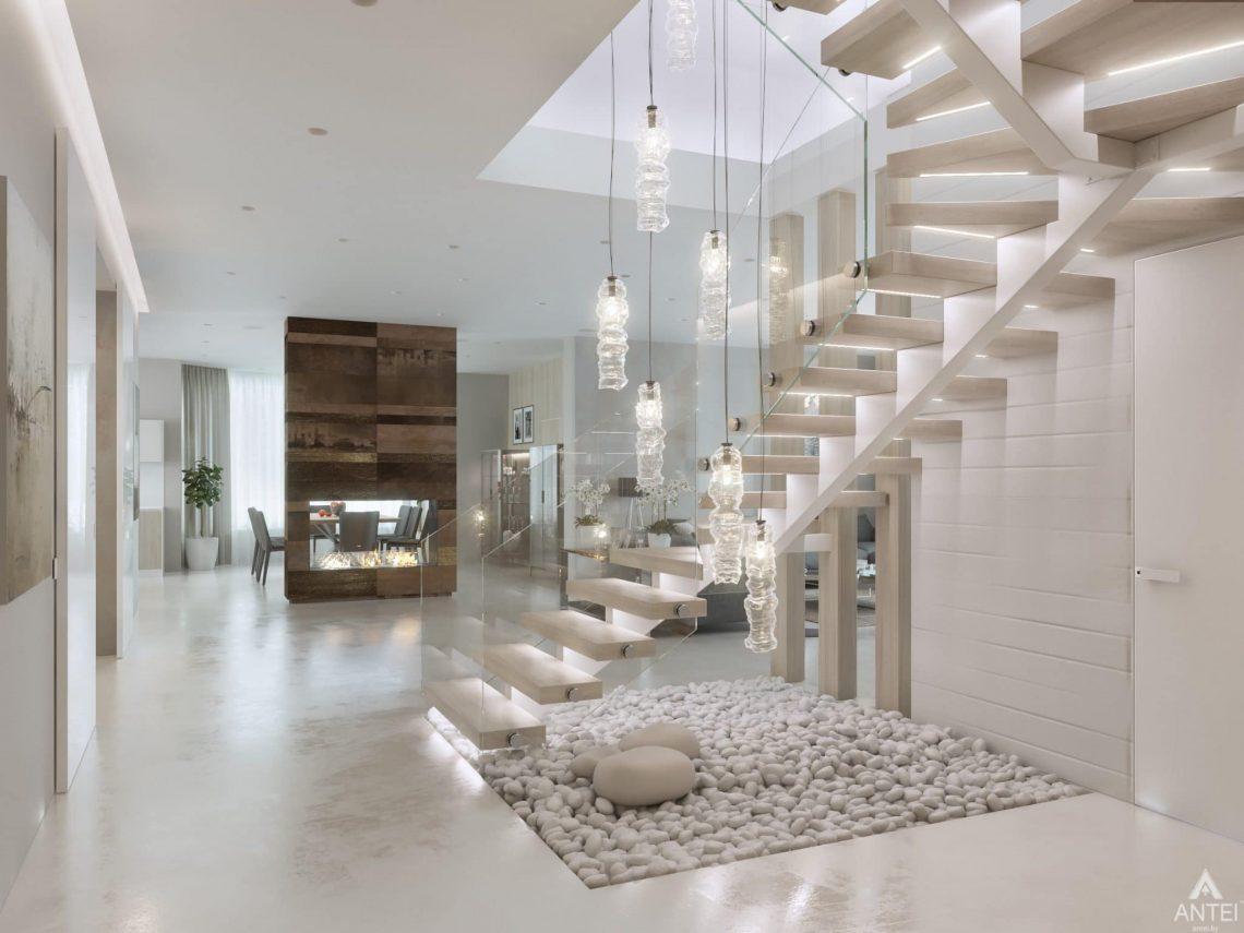 Дизайн интерьера двухэтажного дома в Гомеле - лестница фото №1