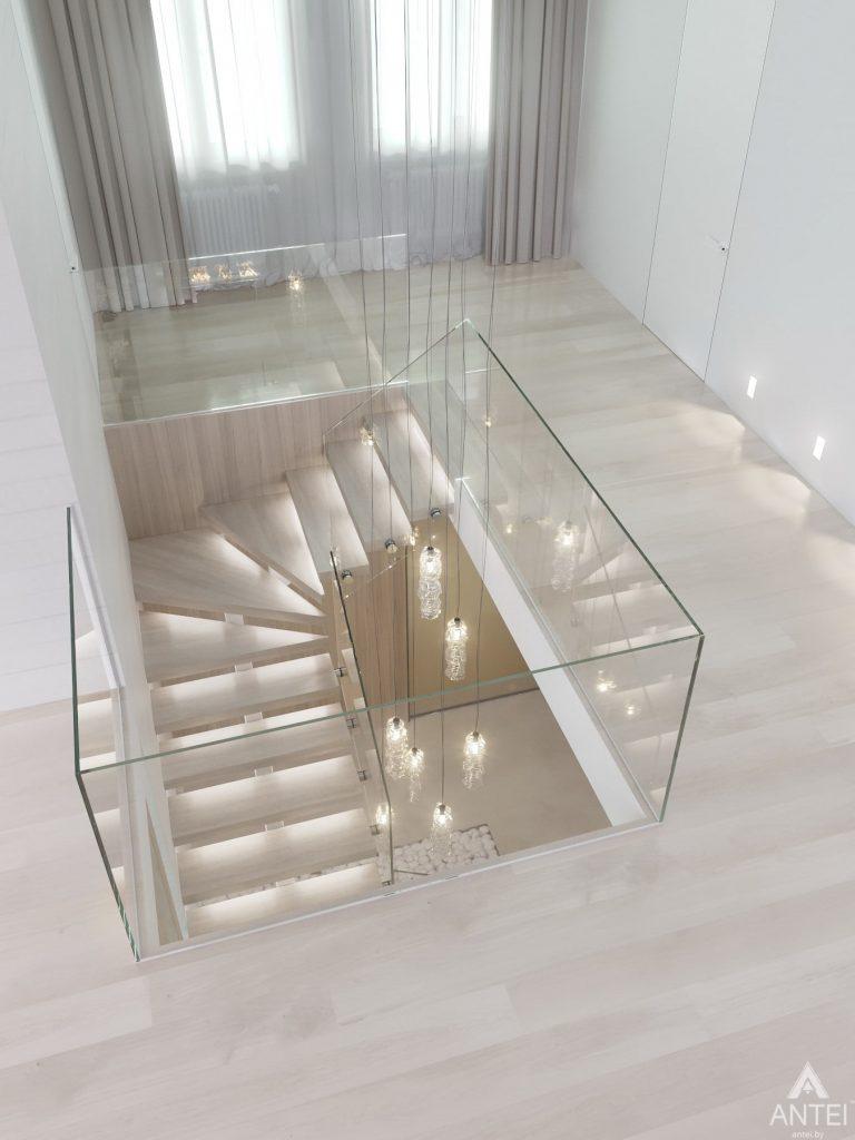 Дизайн интерьера двухэтажного дома в Гомеле - лестница фото №4