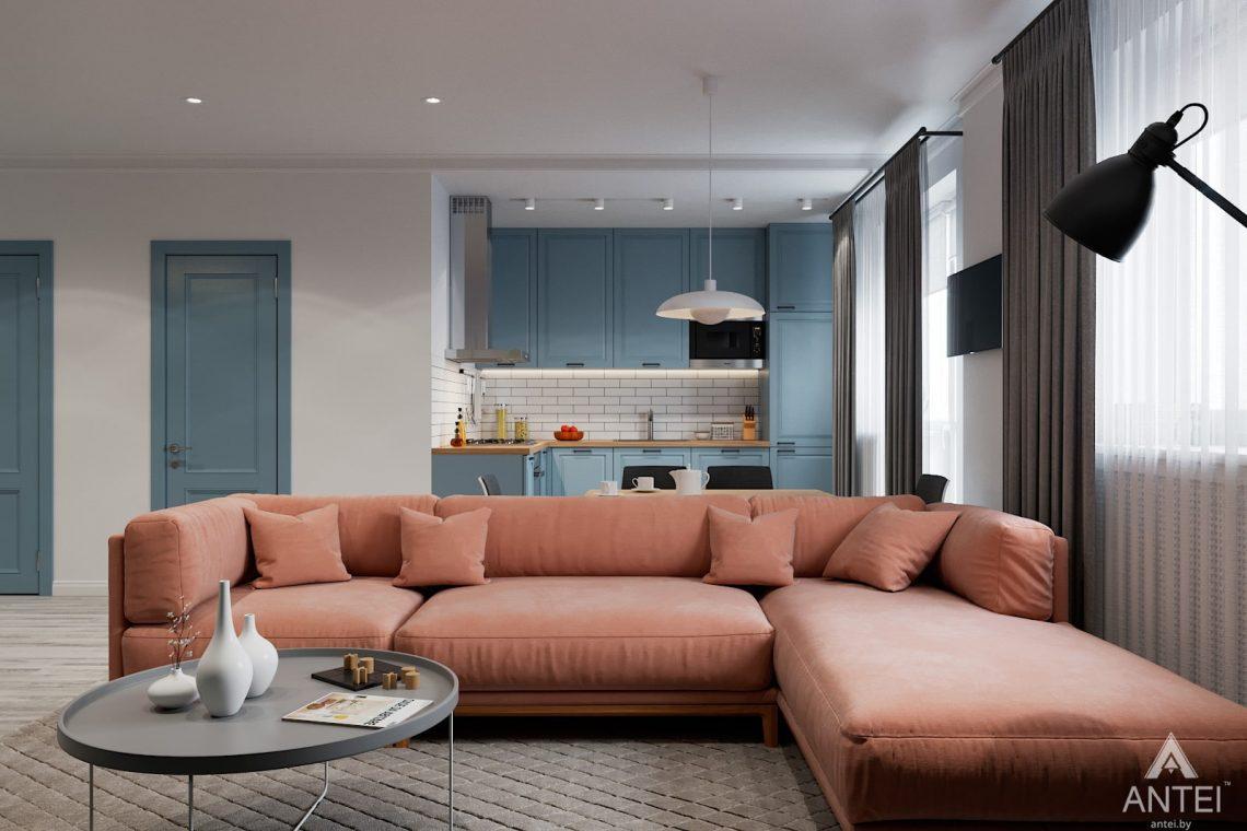 Дизайн интерьера двухкомнатная квартира в Минске, пр-т Дзержинского - гостиная фото №1