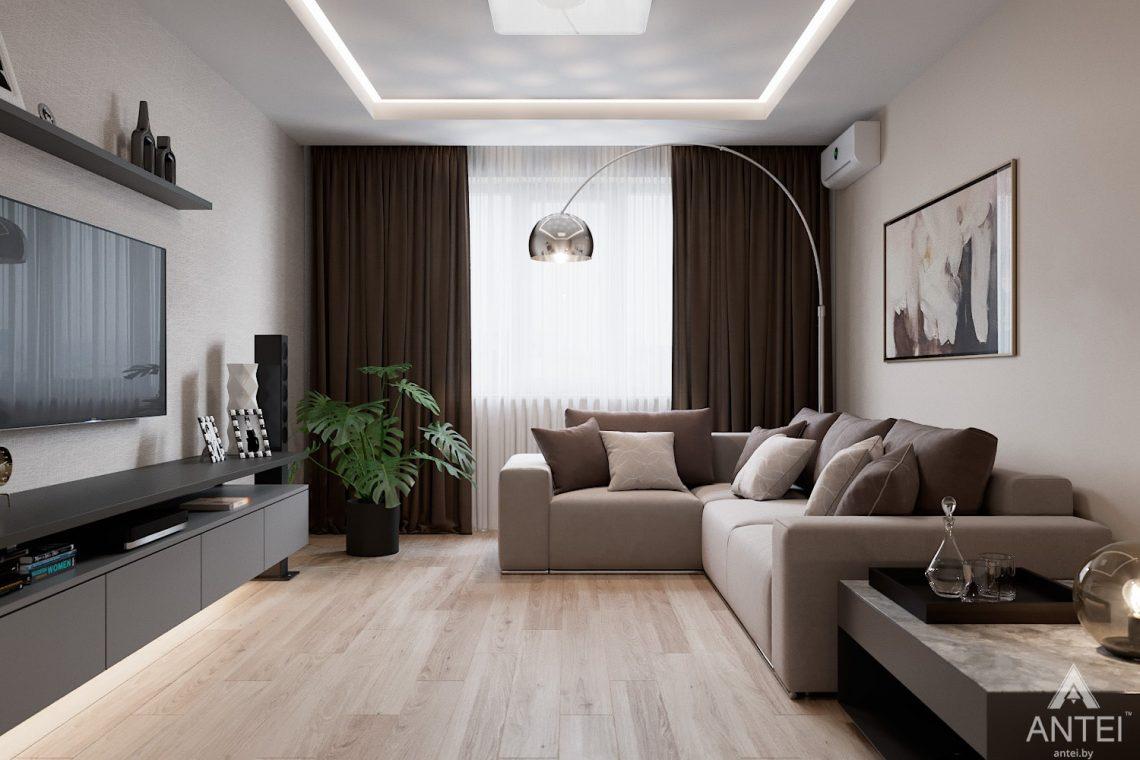 Дизайн интерьера трехкомнатная квартира в Гомеле, ул. Барыкина - гостиная фото №2