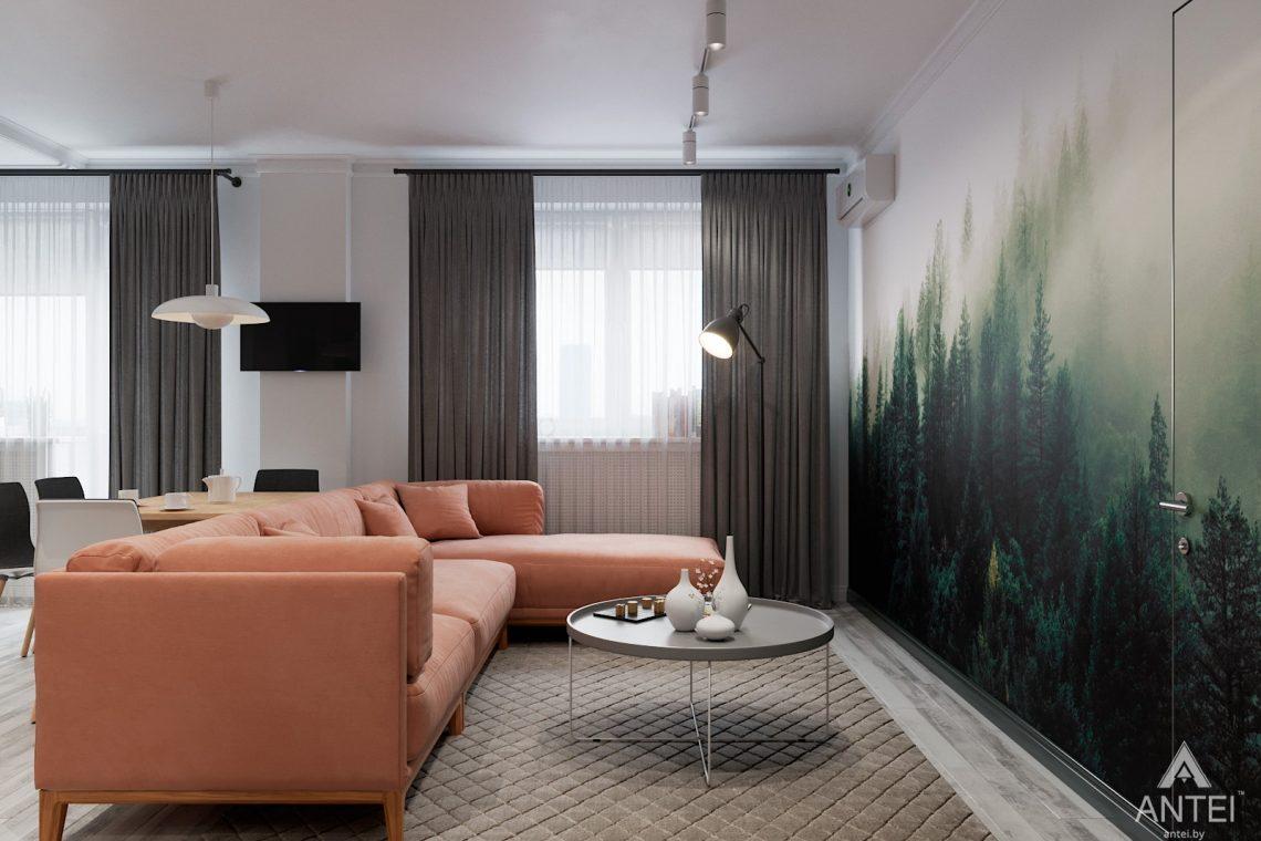 Дизайн интерьера двухкомнатная квартира в Минске, пр-т Дзержинского - гостиная фото №3