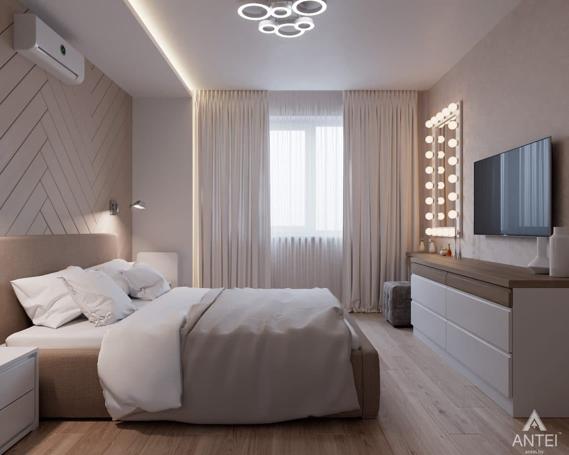 Дизайн интерьера трехкомнатная квартира в Гомеле, ул. Барыкина - спальня фото №1