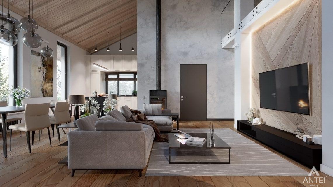 Дизайн интерьера дома со вторым светом в Гомеле - гостиная фото №3