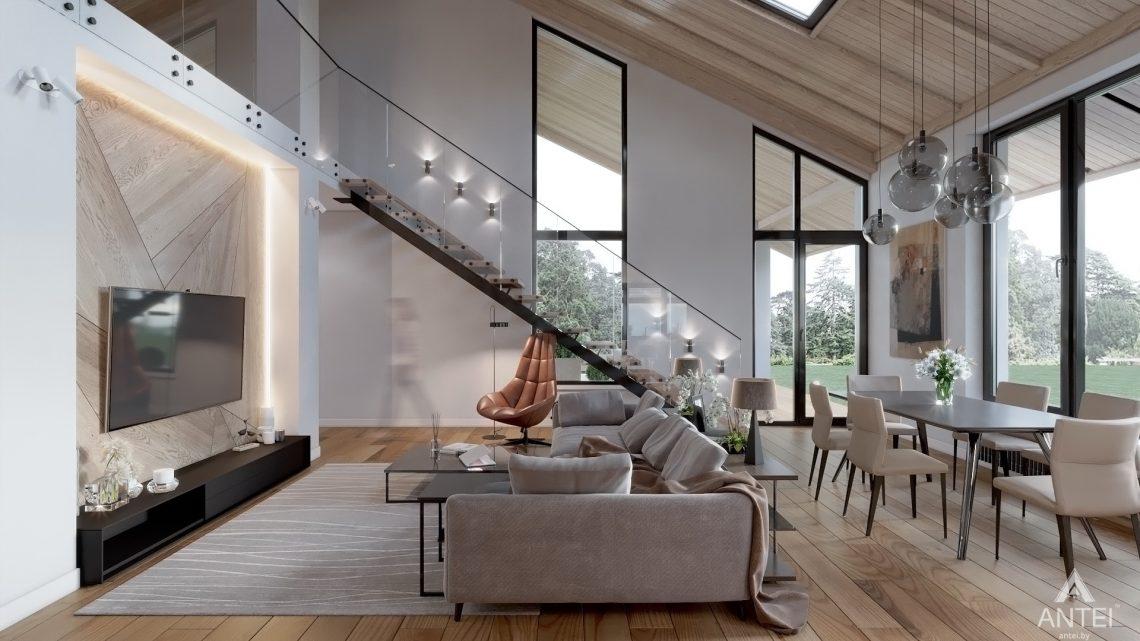 Дизайн интерьера дома со вторым светом в Гомеле - гостиная фото №4