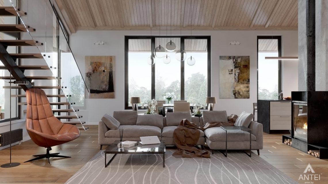 Дизайн интерьера дома со вторым светом в Гомеле - гостиная фото №1