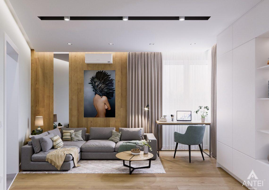 Дизайн интерьера однокомнатной квартиры в Гомеле, ул. Мазурова - гостиная фото №1
