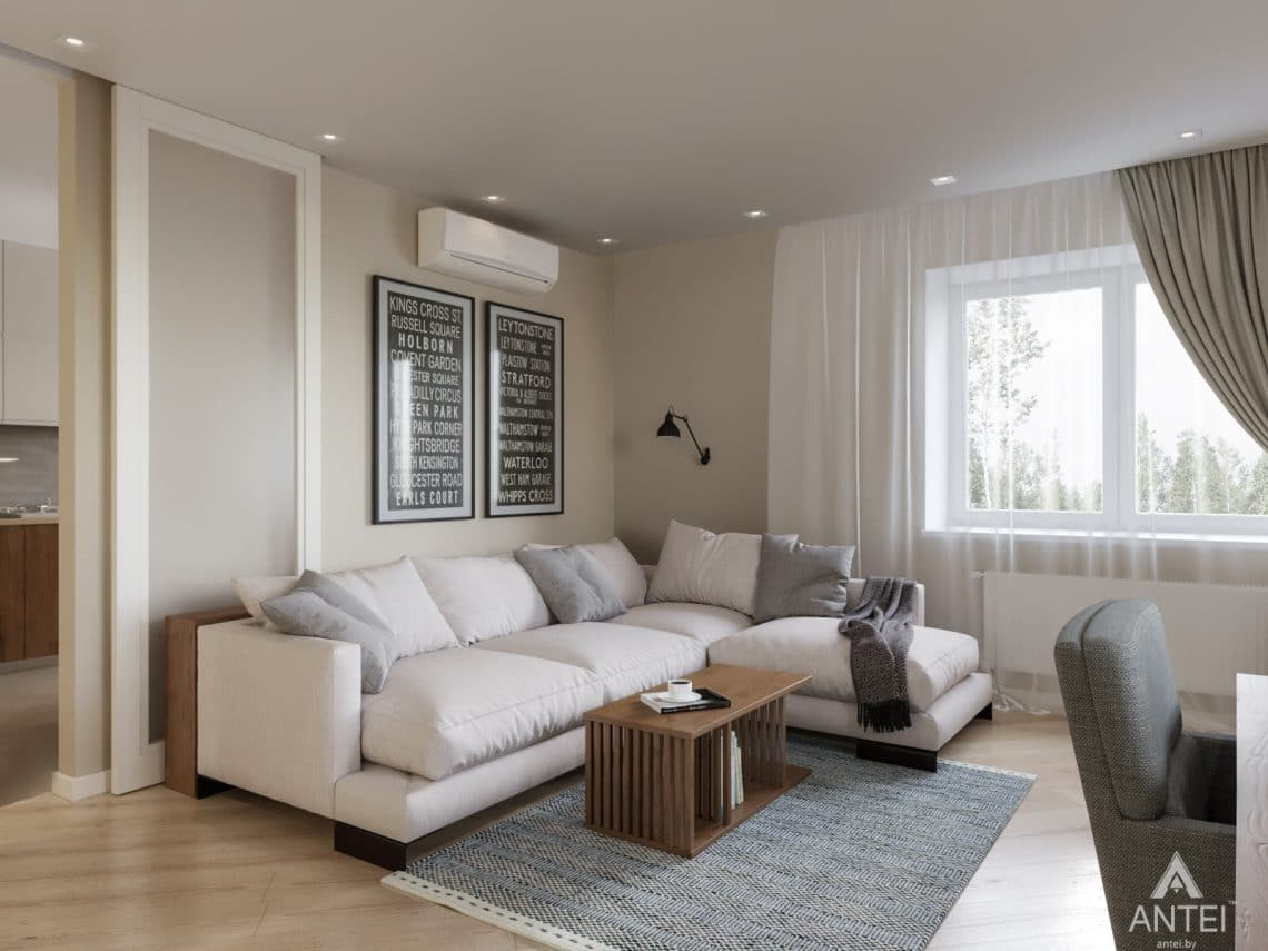 Дизайн интерьера трехкомнатной квартиры в Гомеле, ул. Карла Маркса - гостиная фото №1