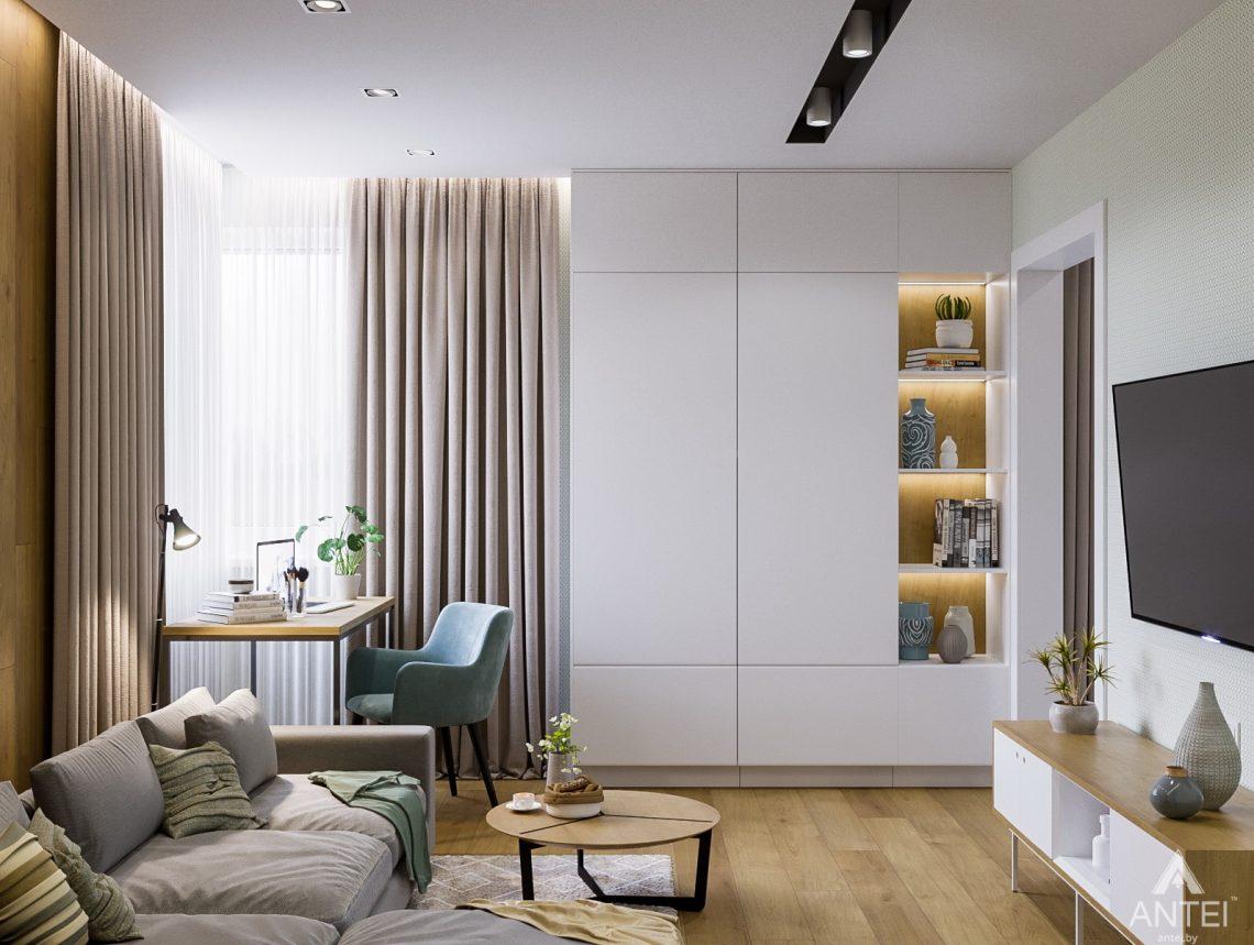 Дизайн интерьера однокомнатной квартиры в Гомеле, ул. Мазурова - гостиная фото №2