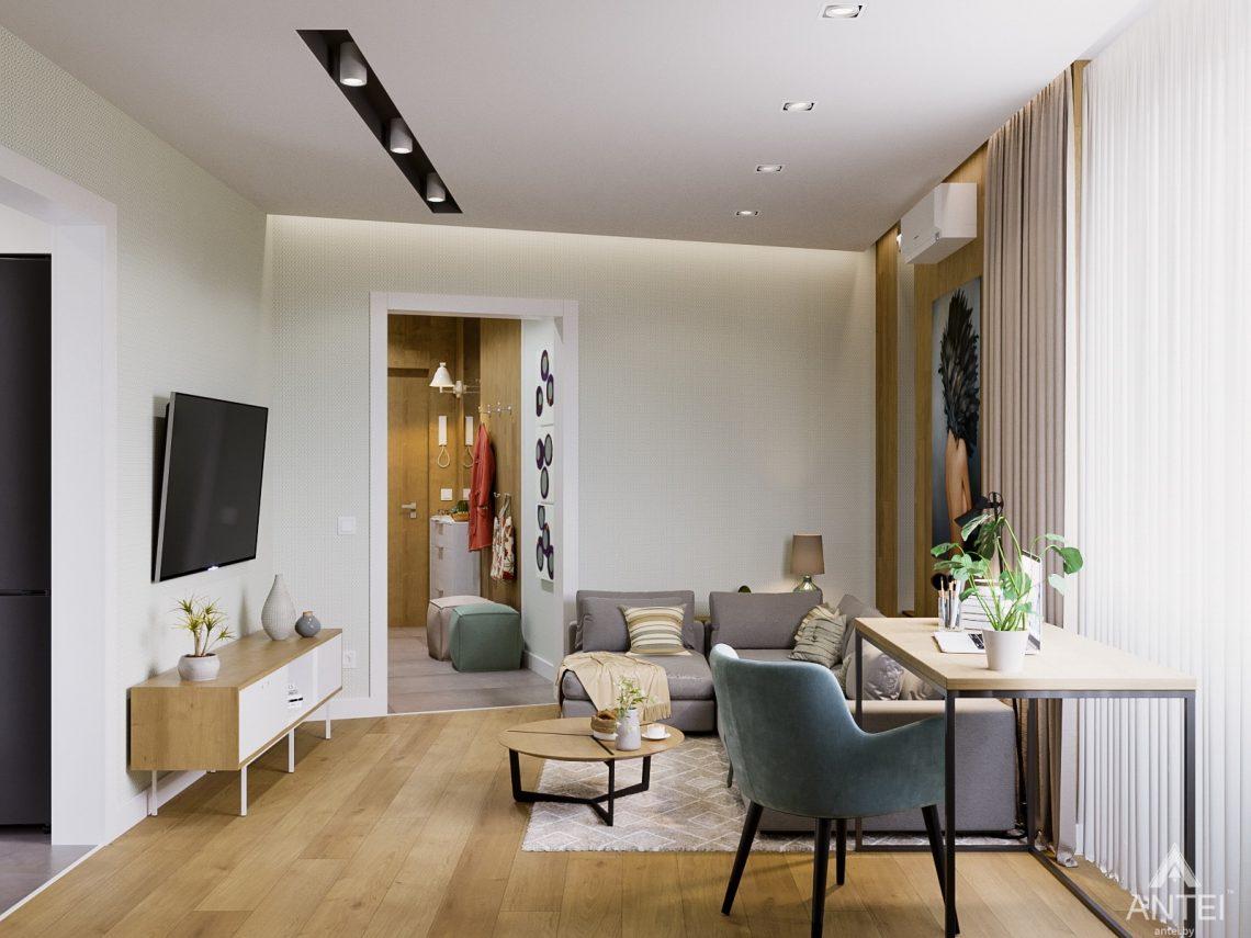 Дизайн интерьера однокомнатной квартиры в Гомеле, ул. Мазурова - гостиная фото №3