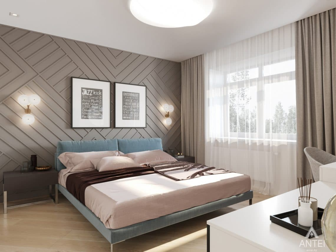 Дизайн интерьера трехкомнатной квартиры в Гомеле, ул. Карла Маркса - спальня фото №1