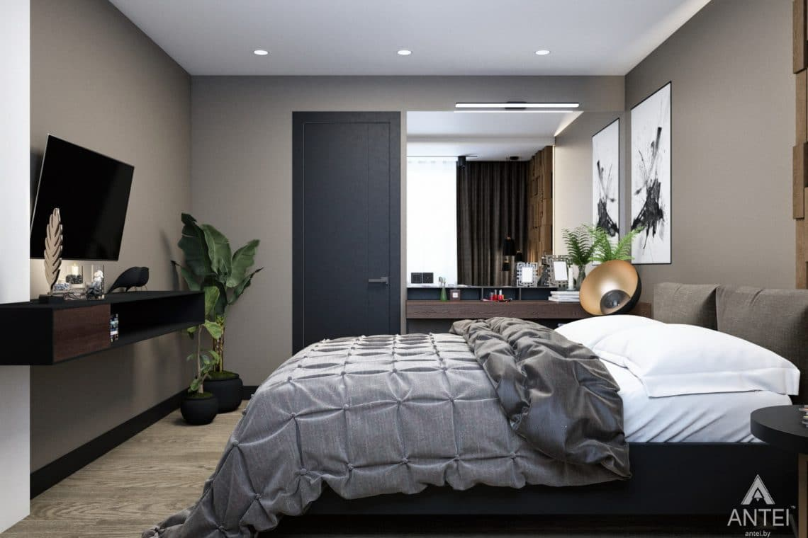 Дизайн интерьера двухкомнатная квартира в Речице - спальня фото №3