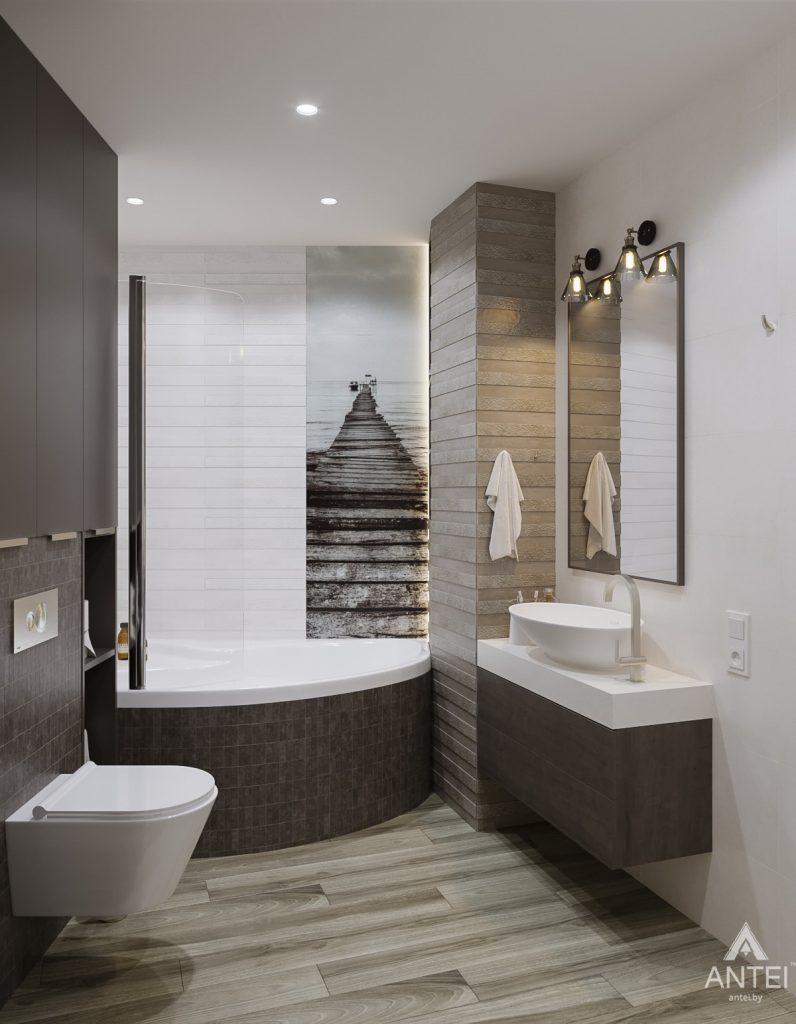 Дизайн интерьера однокомнатной квартиры в Гомеле, ул. Мазурова - санузел фото №3
