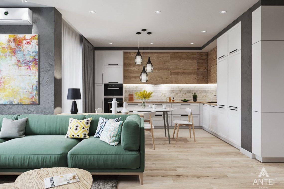 Дизайн интерьера трехкомнатной квартиры в Минске, ЖК Vogue - гостиная-кухня фото №1
