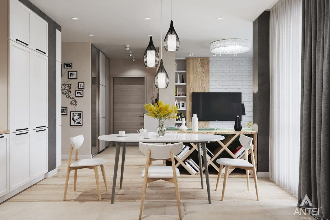 Дизайн интерьера трехкомнатной квартиры в Минске, ЖК Vogue - гостиная-кухня фото №2