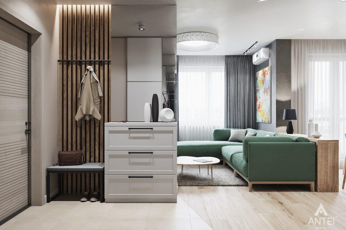 Дизайн интерьера трехкомнатной квартиры в Минске, ЖК Vogue - гостиная-кухня фото №3