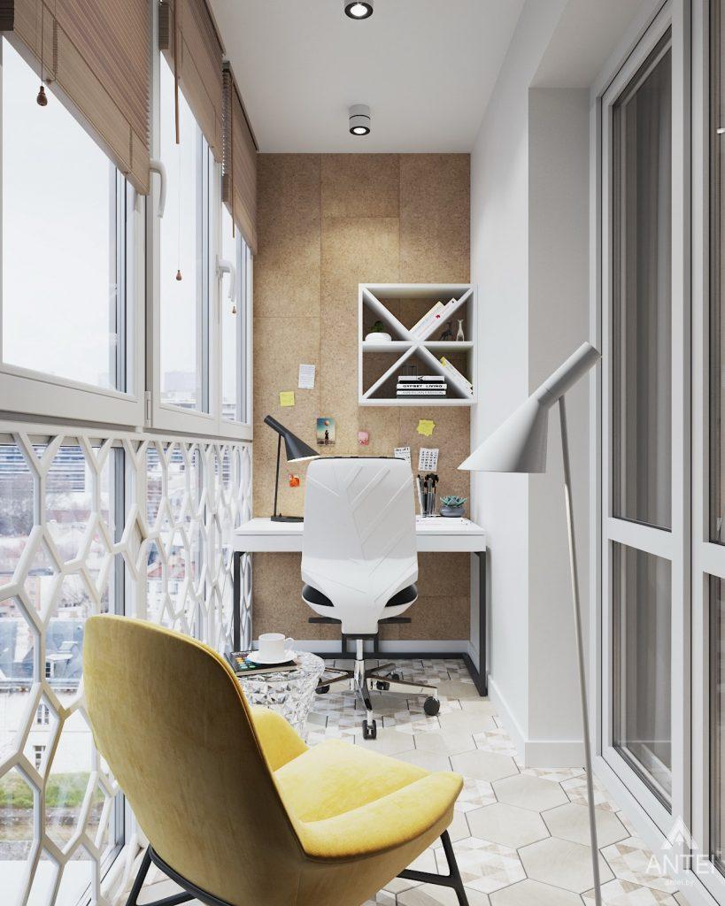 Дизайн интерьера трехкомнатной квартиры в Минске, ЖК Vogue - лоджия фото №1