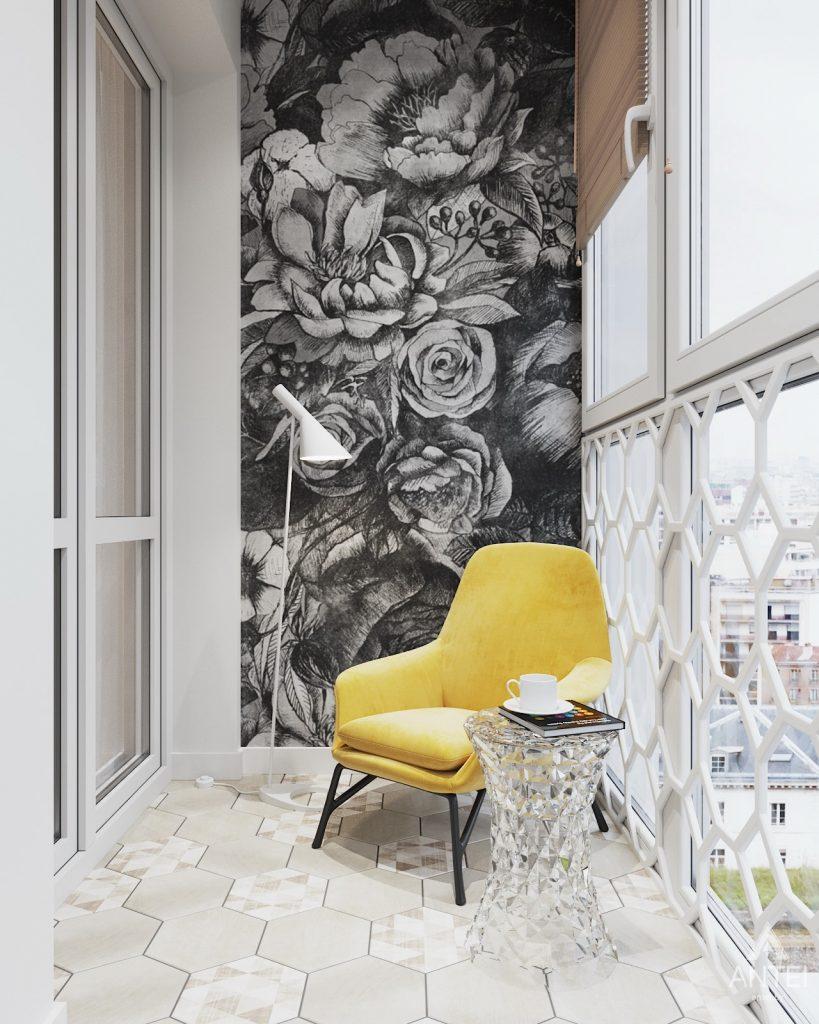 Дизайн интерьера трехкомнатной квартиры в Минске, ЖК Vogue - лоджия фото №2