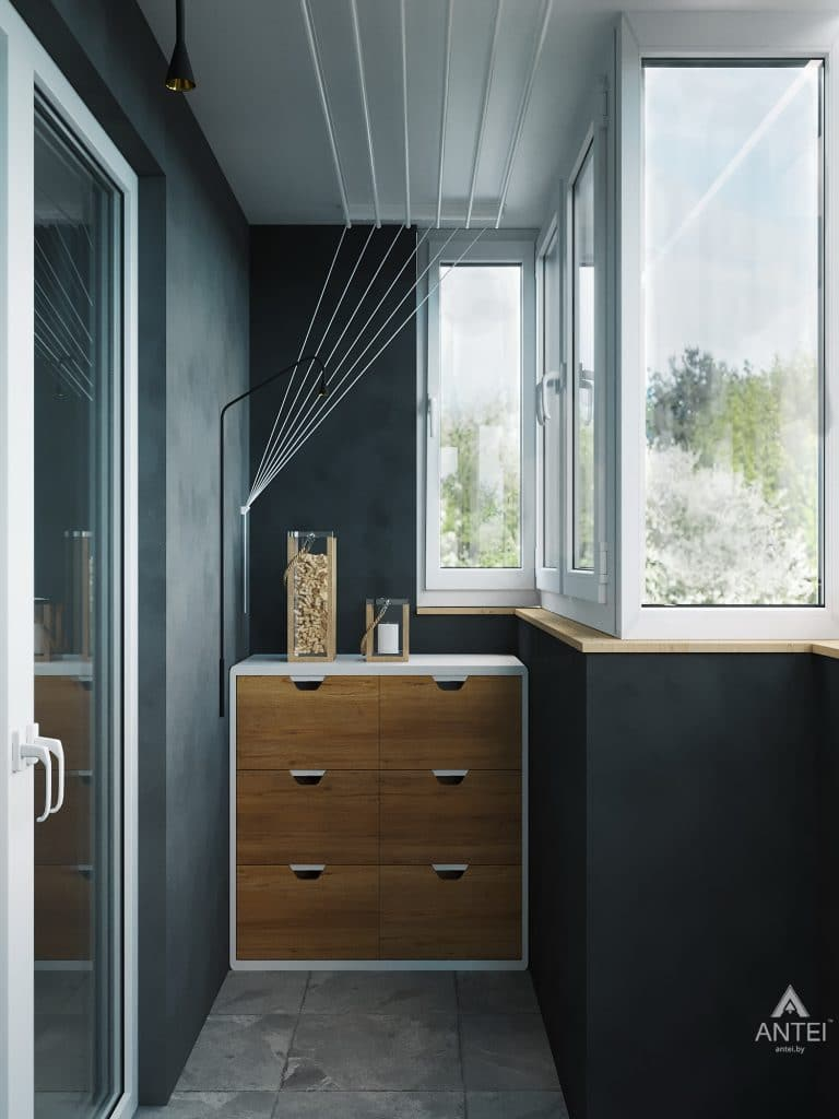 Дизайн интерьера двухкомнатной квартиры в Жлобине, ул. Карла Маркса- балкон фото №2