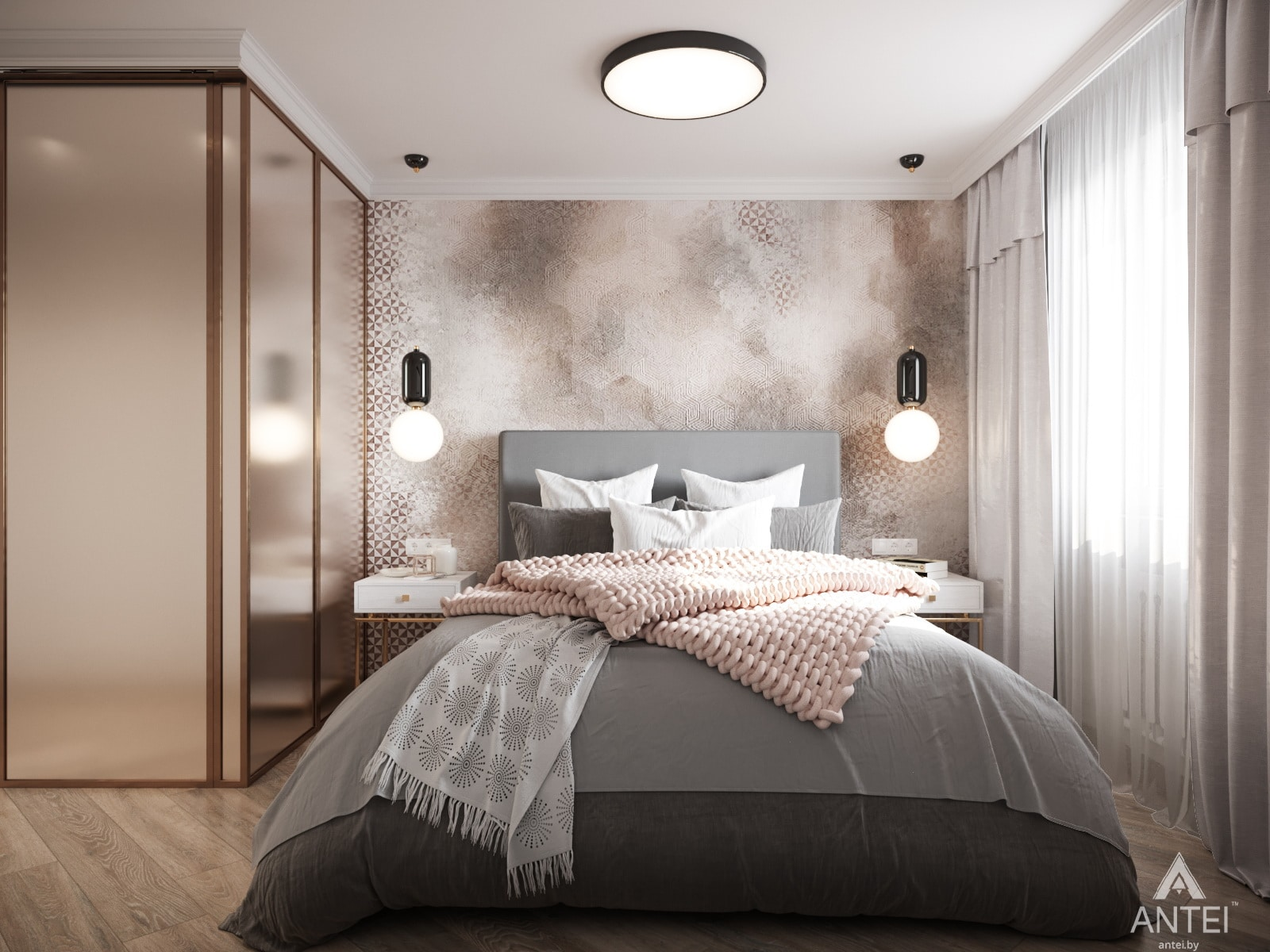 Дизайн интерьера трехкомнатной квартиры в Гомеле, ул. Бородина Т.С. - спальня фото №1