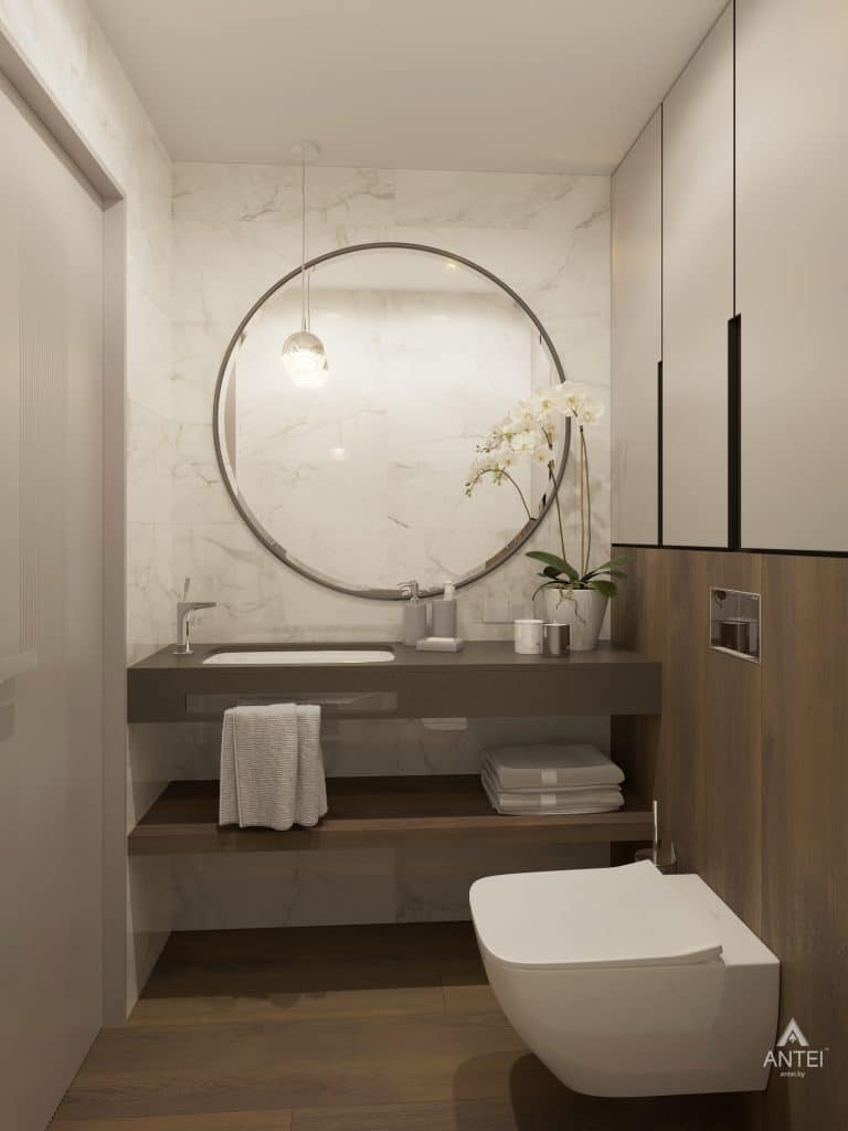 Дизайн интерьера четырехкомнатной квартиры в Гомеле, ул. Советская - санузел фото №1