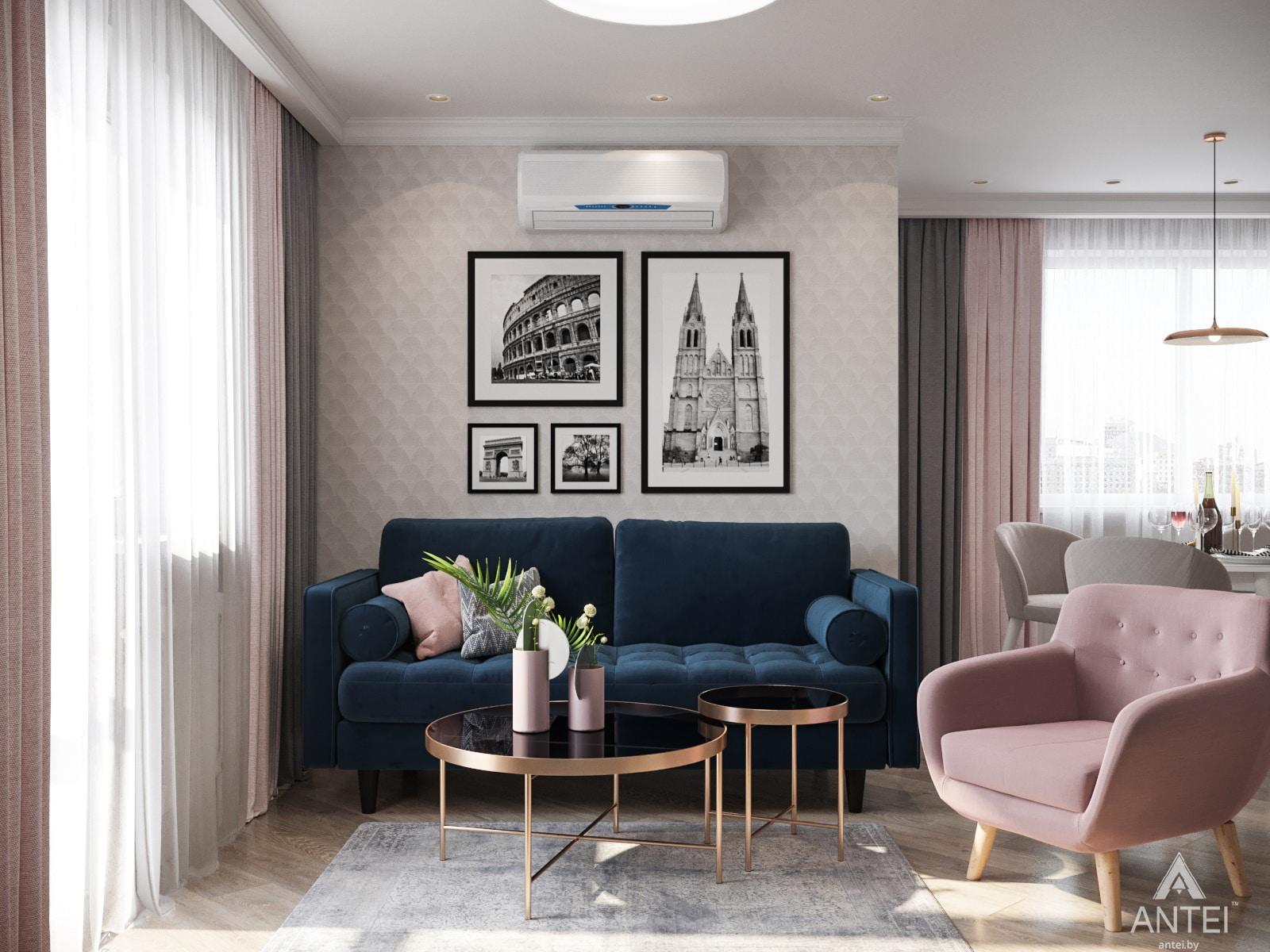 Дизайн интерьера трехкомнатной квартиры в Гомеле, ул. Бородина Т.С. - гостиная фото №1