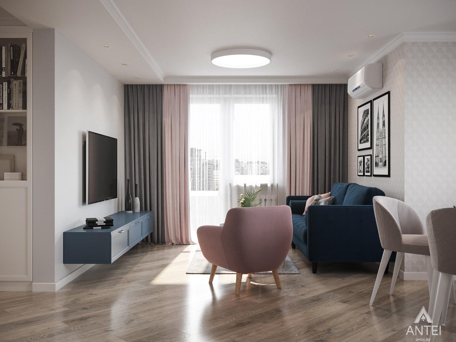 Дизайн интерьера трехкомнатной квартиры в Гомеле, ул. Бородина Т.С. - гостиная фото №2