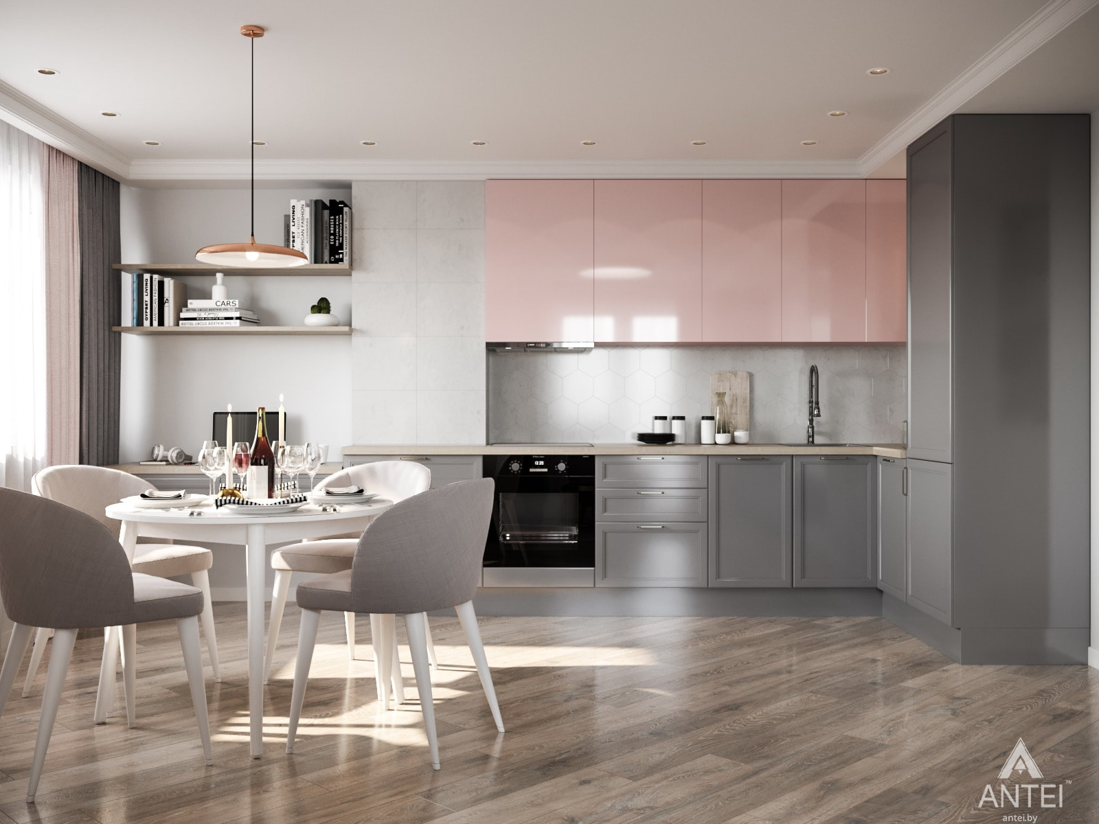 Дизайн интерьера трехкомнатной квартиры в Гомеле, ул. Бородина Т.С. - кухня фото №3