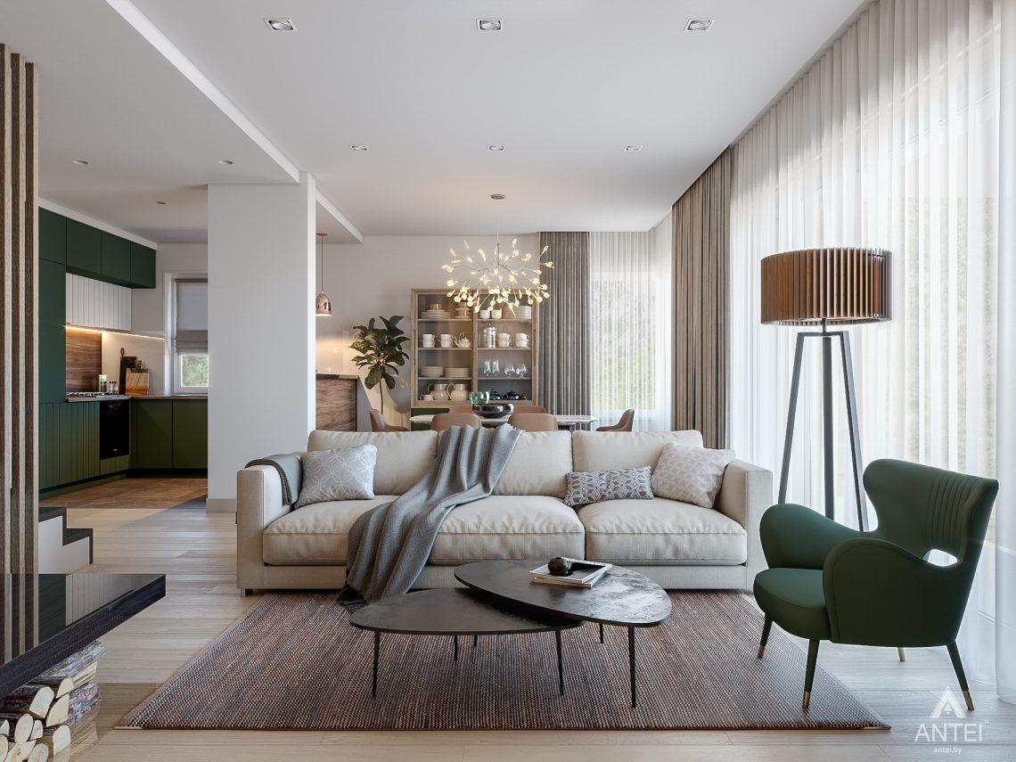 Дизайн интерьера таунхауса в Варшаве - гостиная фото №1