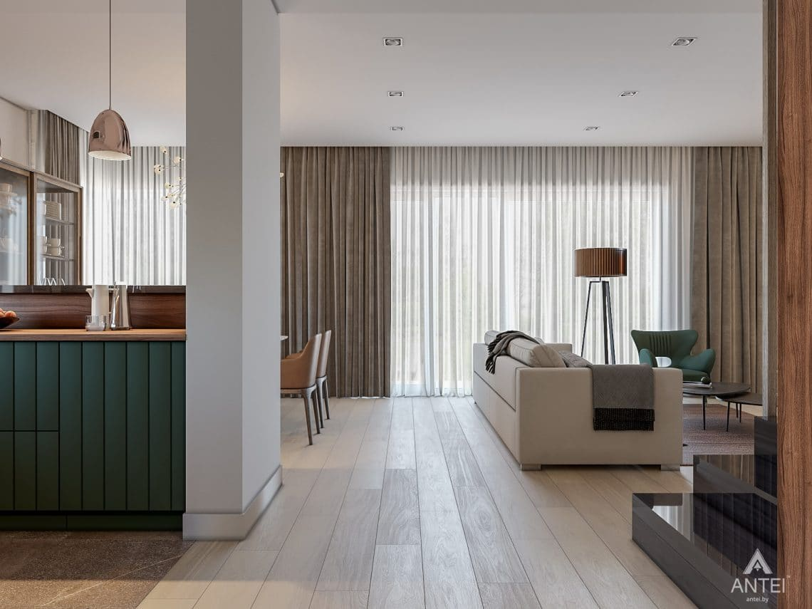 Дизайн интерьера таунхауса в Варшаве - гостиная фото №4